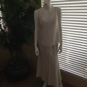 Eileen Fisher Skirt and Top with beaded shawl